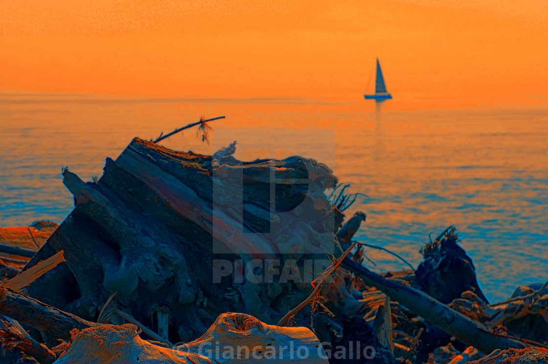 """Sunrise at sea"" stock image"