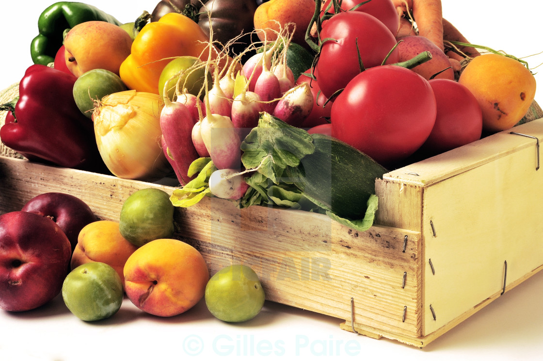 Food background studio photo of different fruits and vegetables -  Crates Of Fruit And Vegetables On White Background In Studio Stock Image