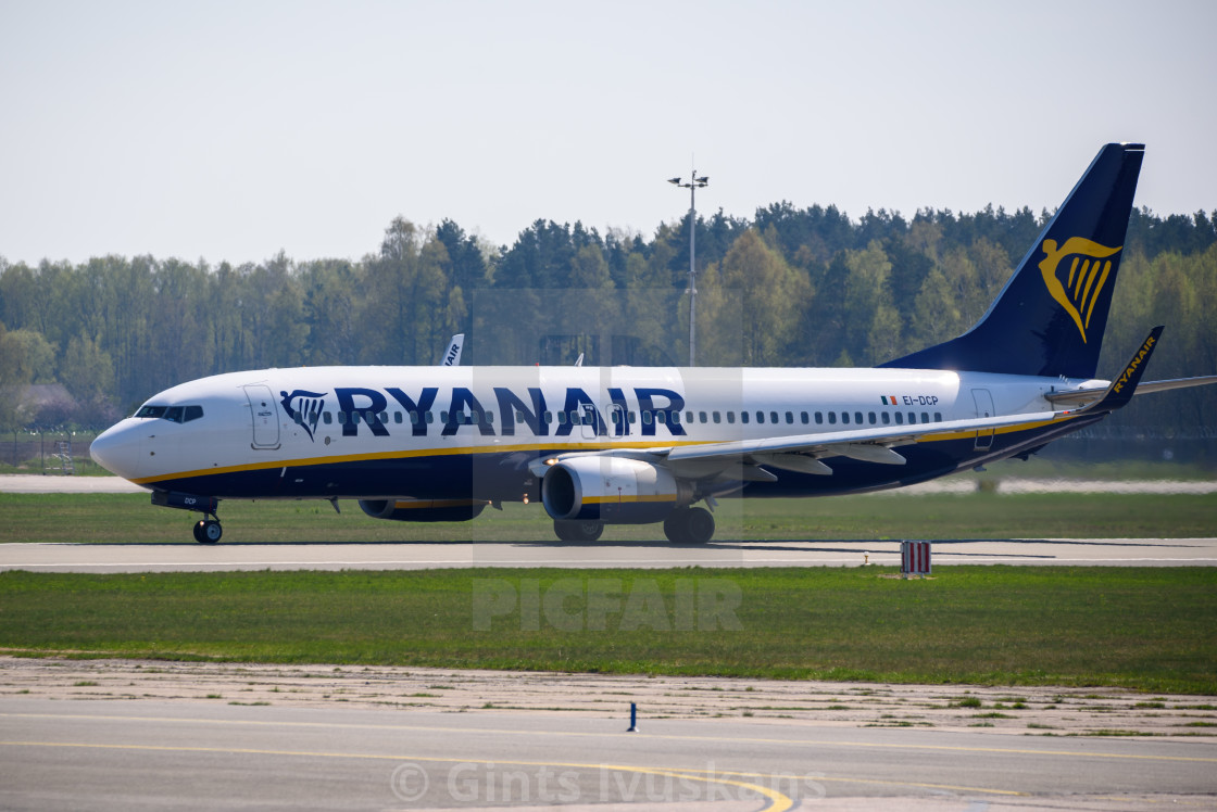 """""""Ryanair Boeing 737-8AS airplane, during departure from Riga International Airport (RIX)."""" stock image"""