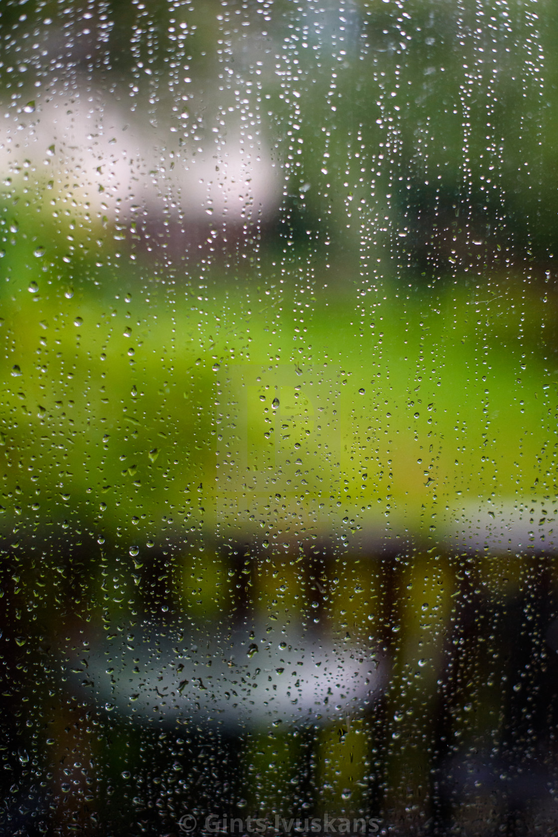 """Rain drops on window."" stock image"