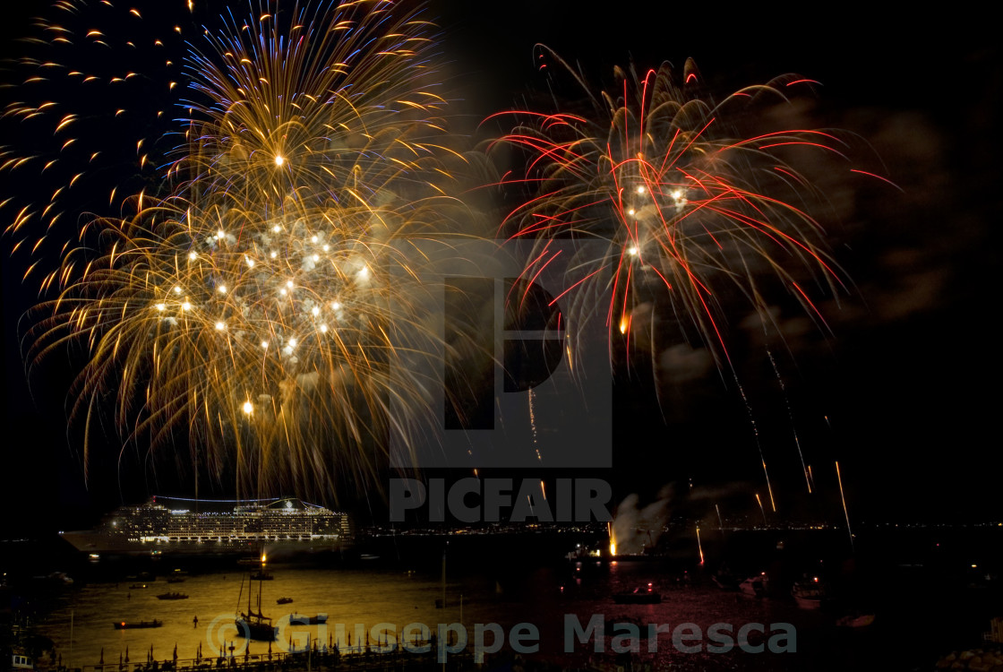 """Fireworks at sea"" stock image"