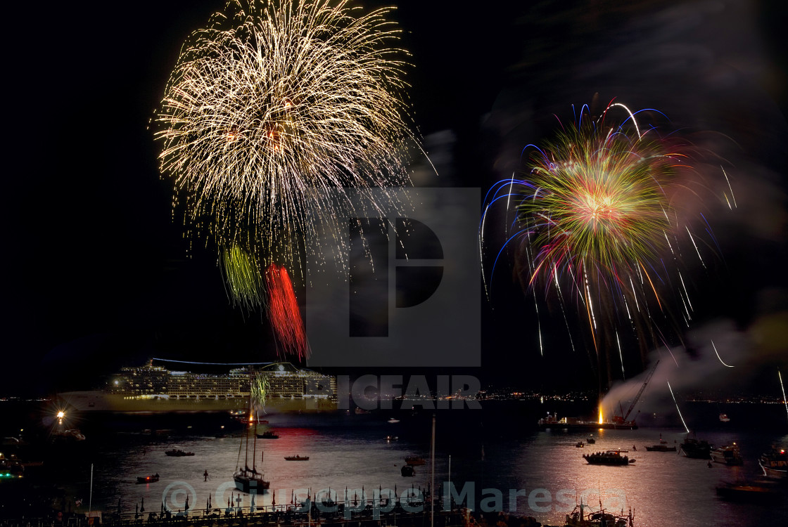 """""""Fireworks at sea"""" stock image"""