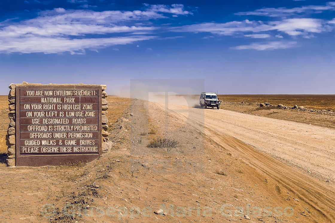 """Entering Serengeti"" stock image"