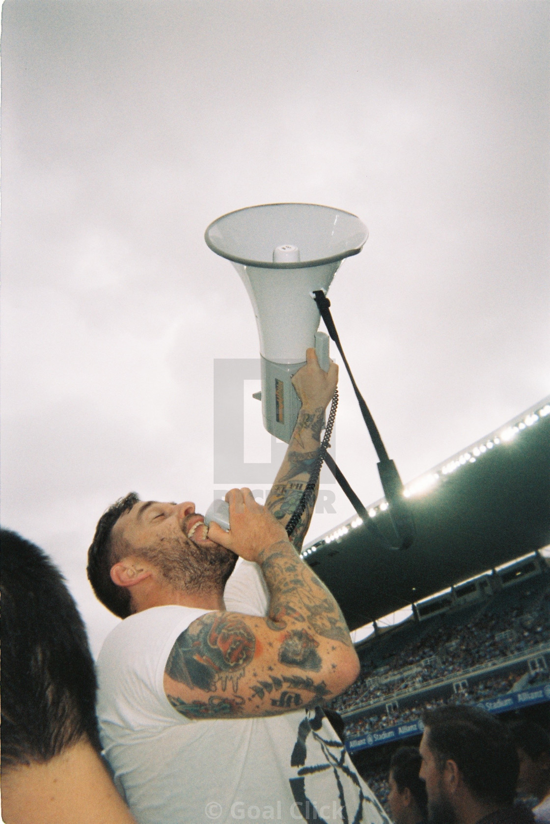 """Football fan with megaphone"" stock image"