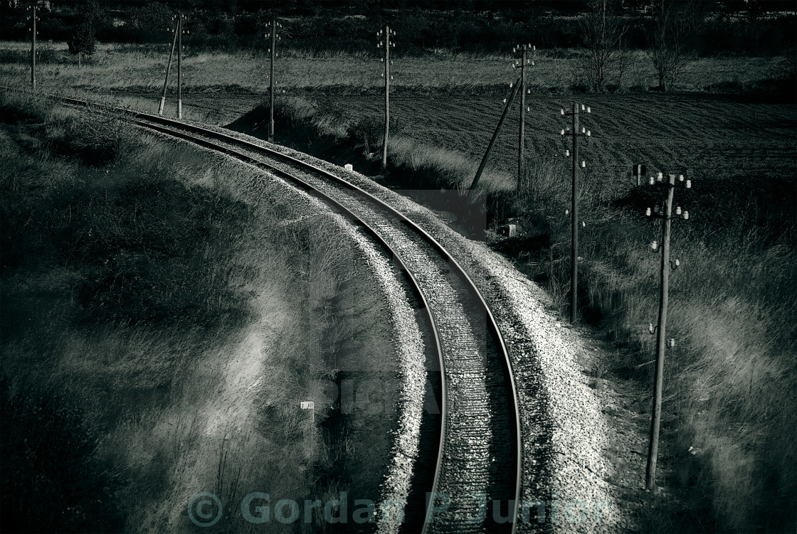 """Old railroad , artistic retro style toned photo"" stock image"