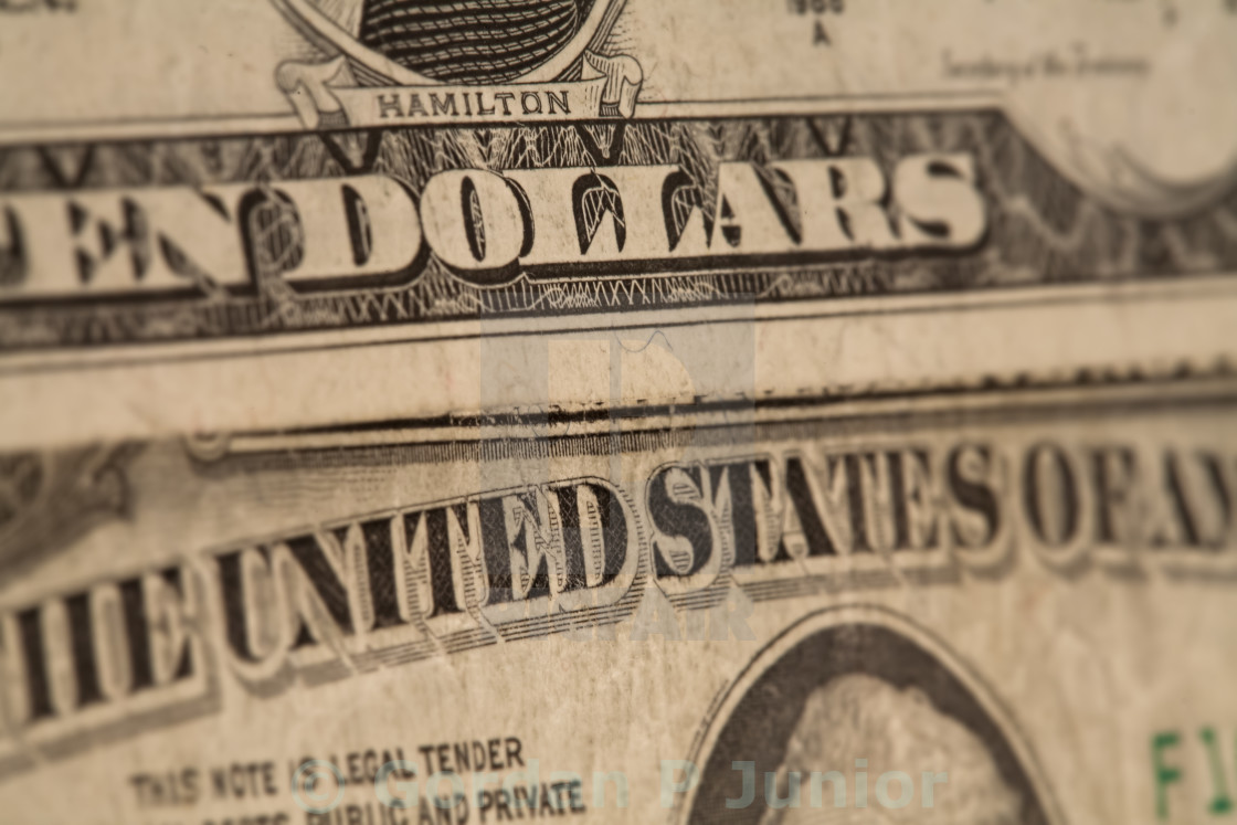 """US dollars background, reto style toned photo with shallow DOF"" stock image"