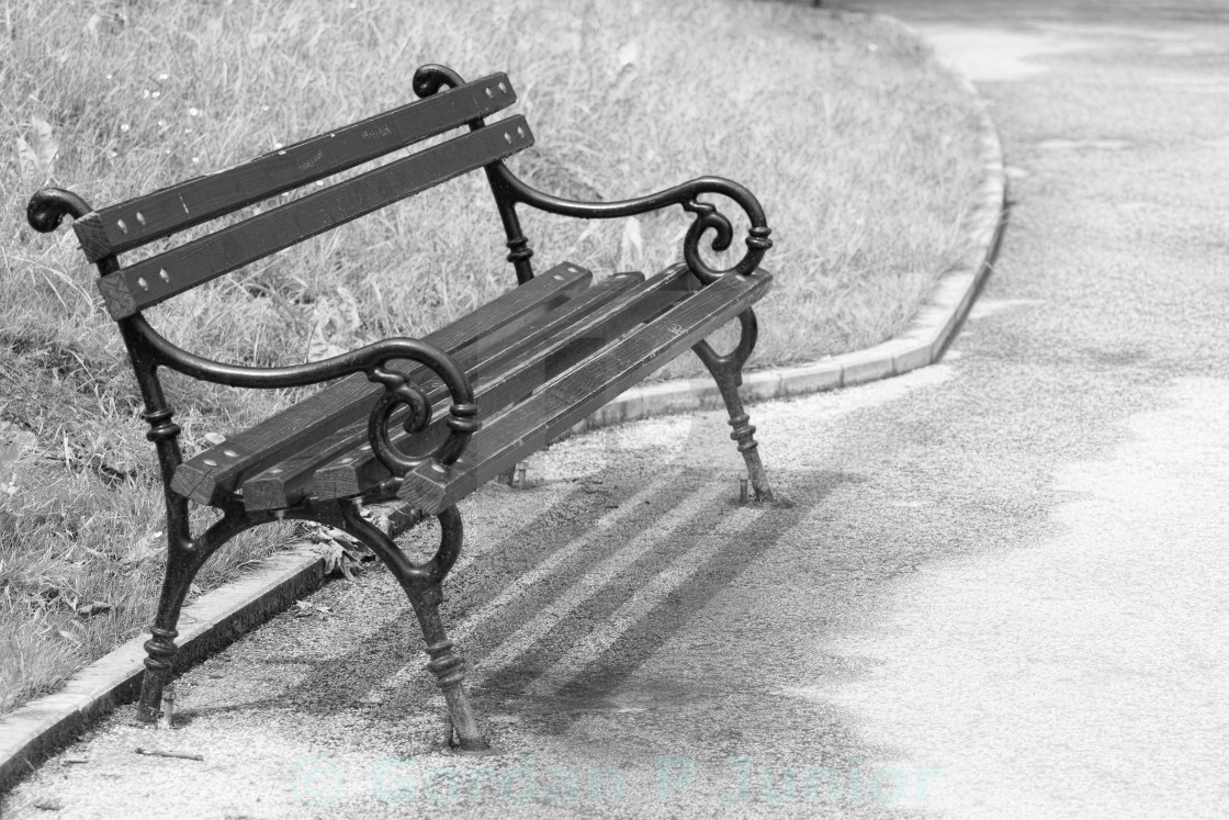 """Bench in the park , artistick toned"" stock image"