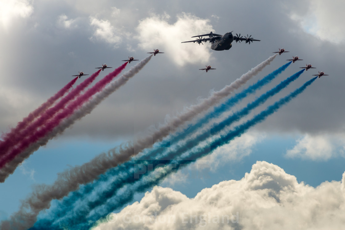 """""""Airbus A400 and RAF Red Arrows Flypast at FIA16"""" stock image"""