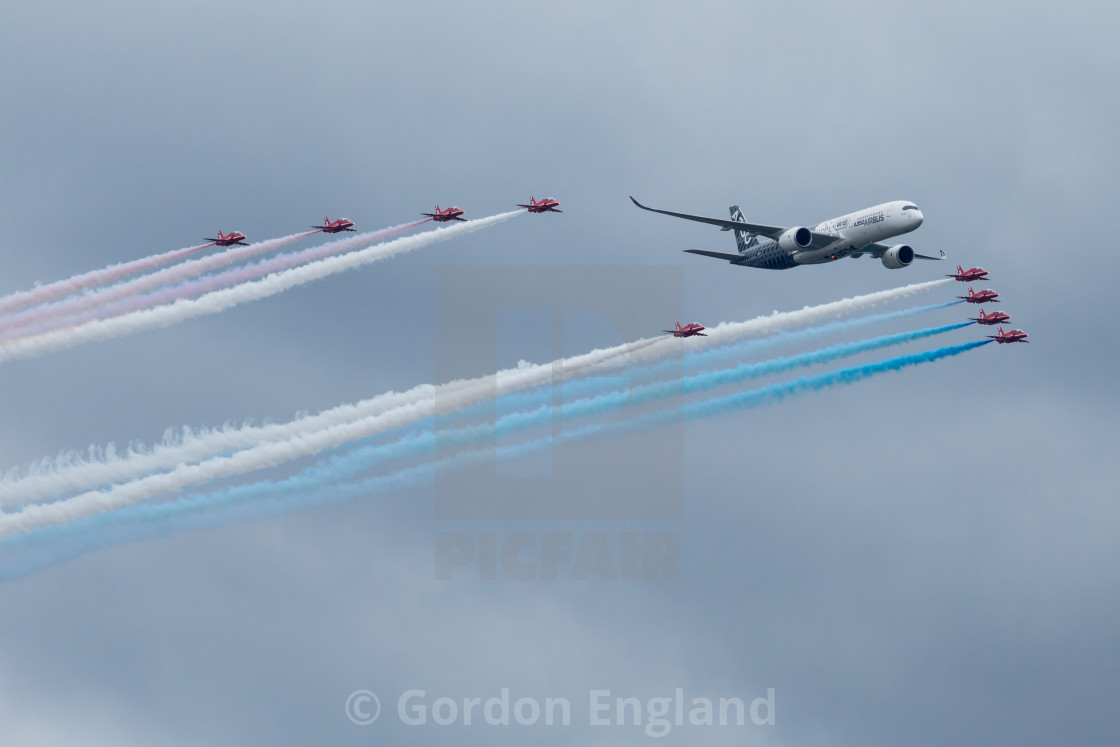 """""""Red Arrows and Airbus A350"""" stock image"""