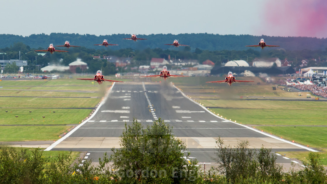 """""""Red Arrows Take-off"""" stock image"""