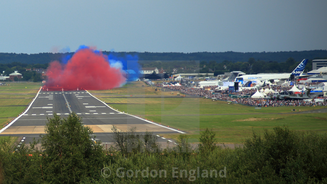 """""""Red Arrows on Runway"""" stock image"""