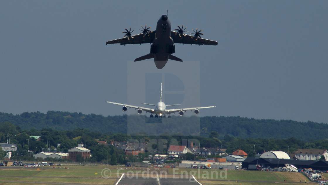 """""""Airbus A400M 'Grizzly' and A380 Aircraft"""" stock image"""