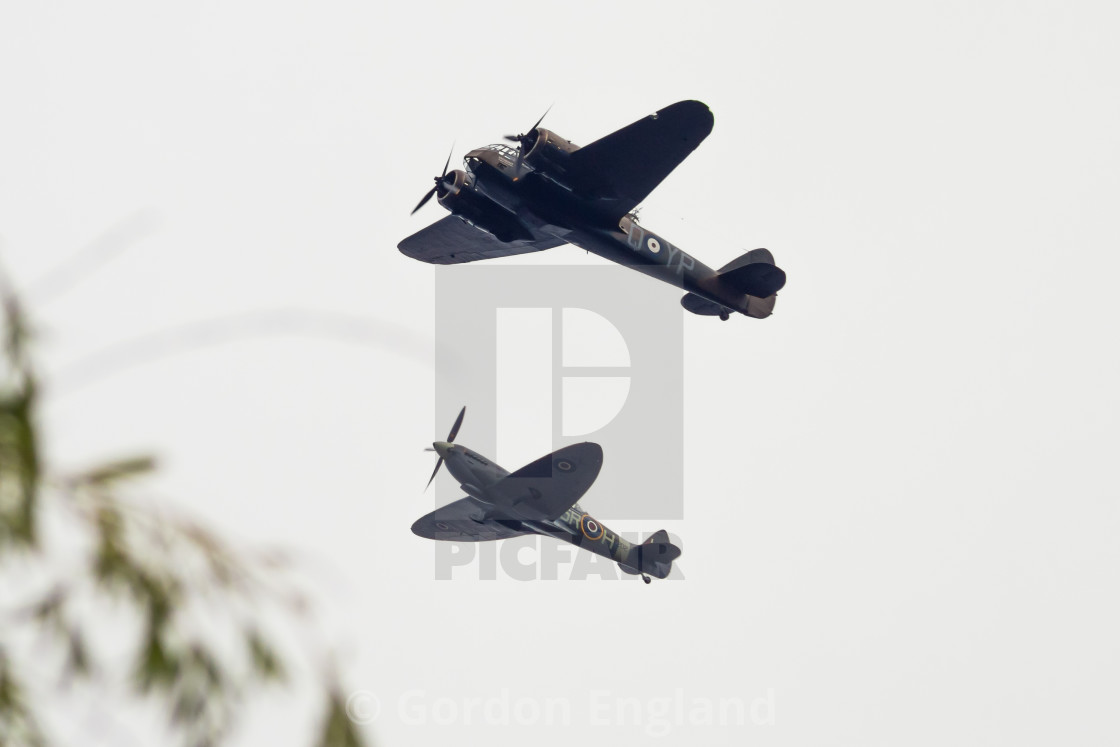 """Bristol Blenheim and Spitfire"" stock image"