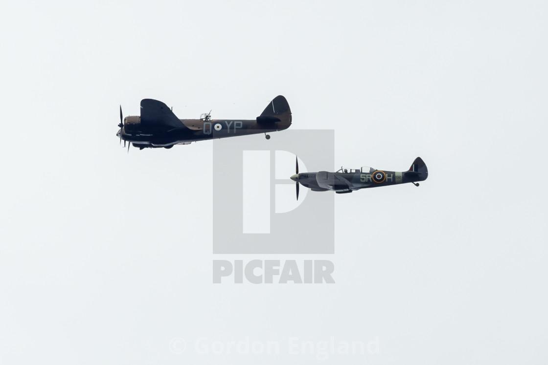 """Blenheim and Spitfire Aircraft"" stock image"