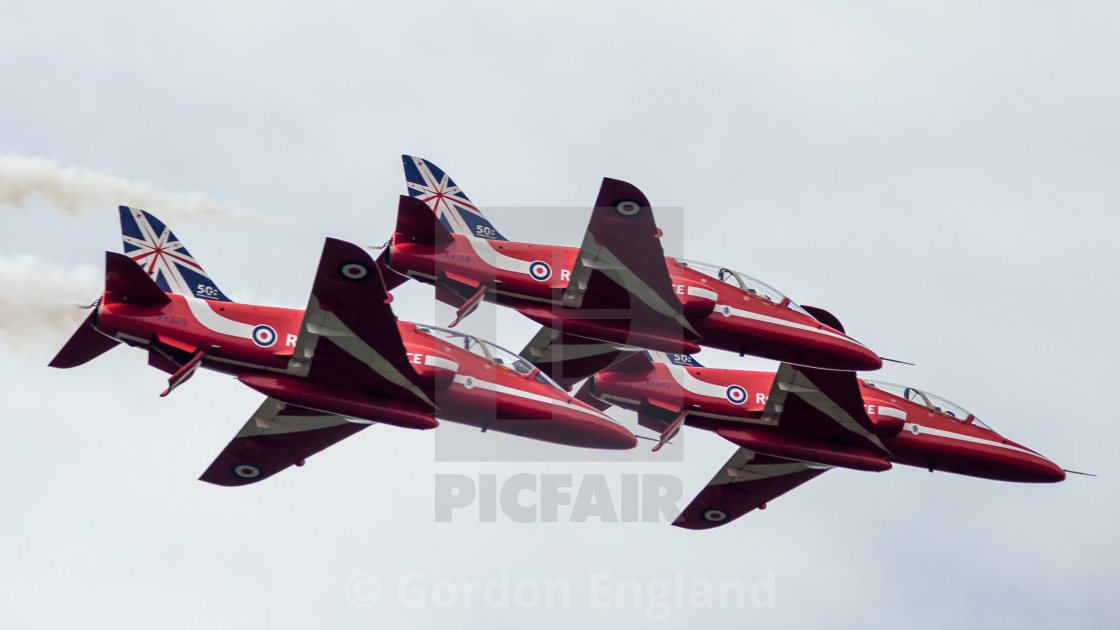 """""""Red Arrows Tight Formation"""" stock image"""