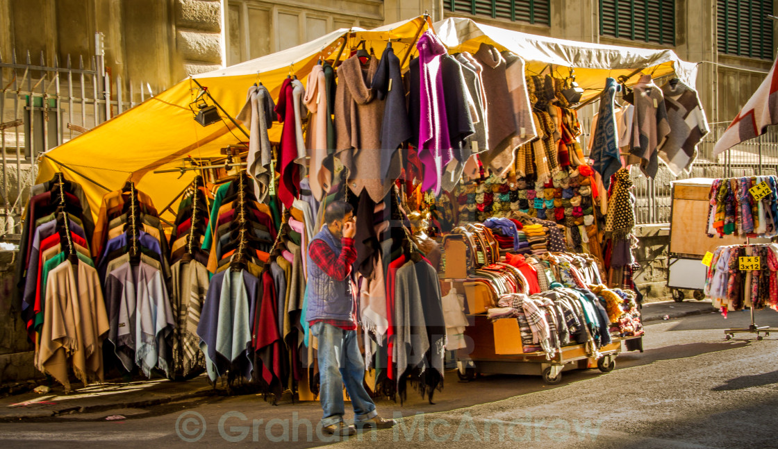 """Market stall in Florence Italy"" stock image"