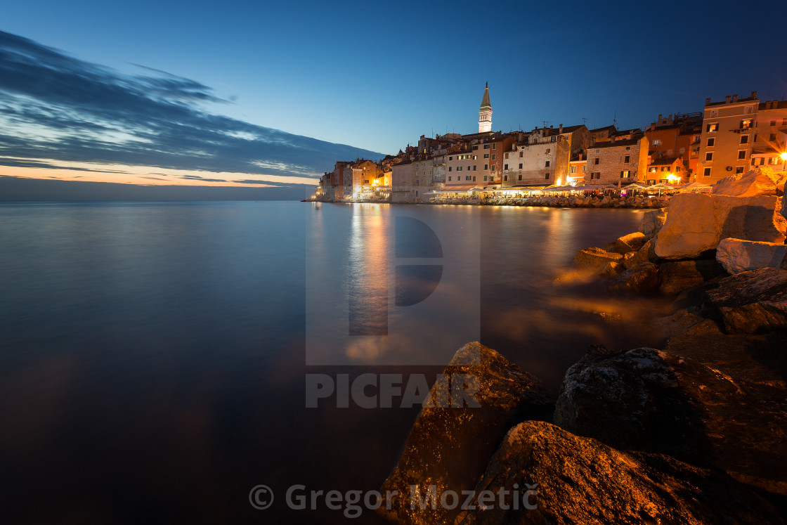 """Stunning sunset with colorful sky,Rovinj,Istria region,Croatia,Europe"" stock image"