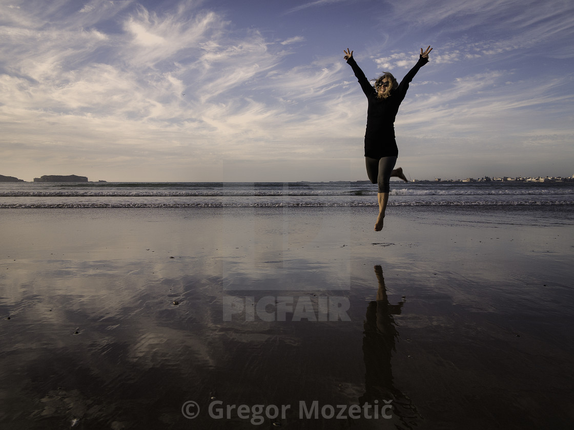 """Jump of joy"" stock image"