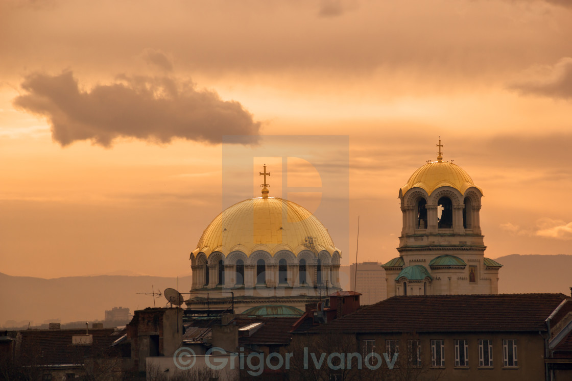 """dome of a church at sunrise"" stock image"