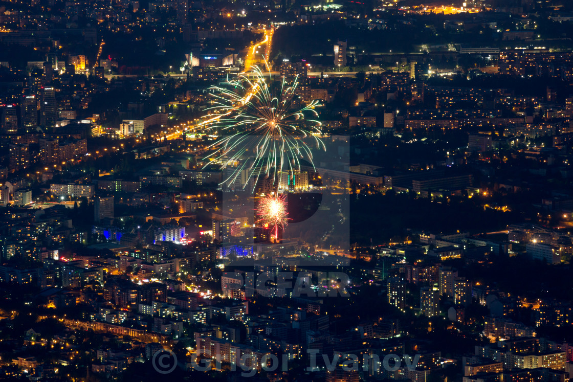 """Bulgaria, Sofia, downtown at night with fireworks"" stock image"