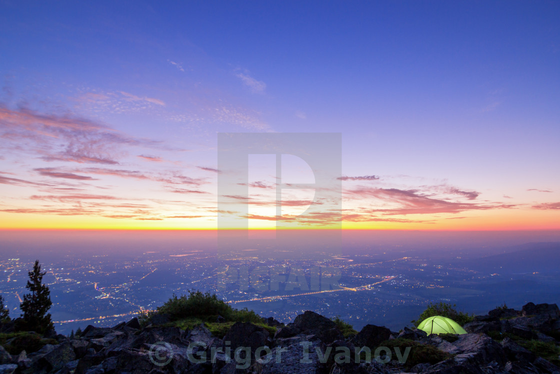 """sunrise over city in Europe"" stock image"