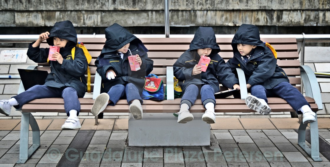 """Infants in Tsim Sha Tsui"" stock image"
