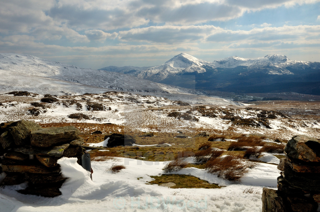 """""""A winter's day on Snowdon"""" stock image"""
