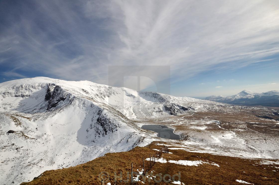 """Snowdonia winter wide angle"" stock image"