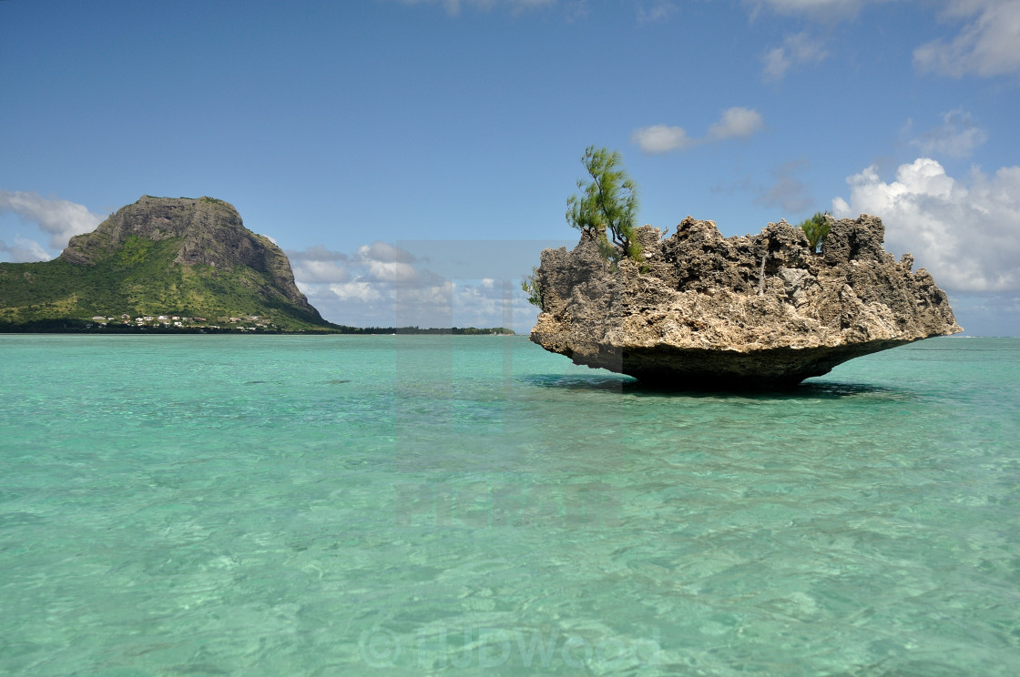 """Crystal Rock and Le Morne Brabant, Mauritius"" stock image"
