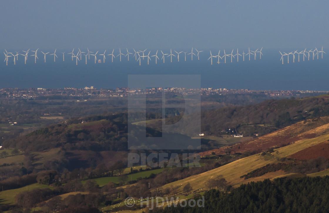 """""""Gwynt y Môr wind farm, North Wales"""" stock image"""