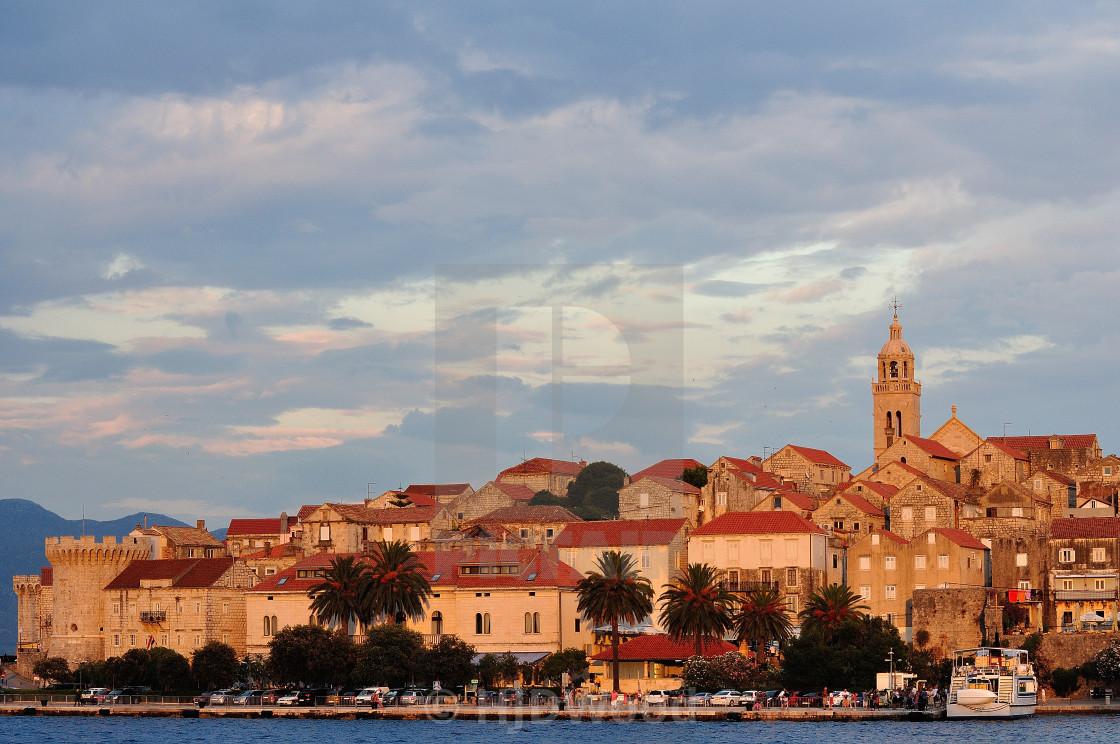 """Sunset over Korcula Town, Croatia"" stock image"