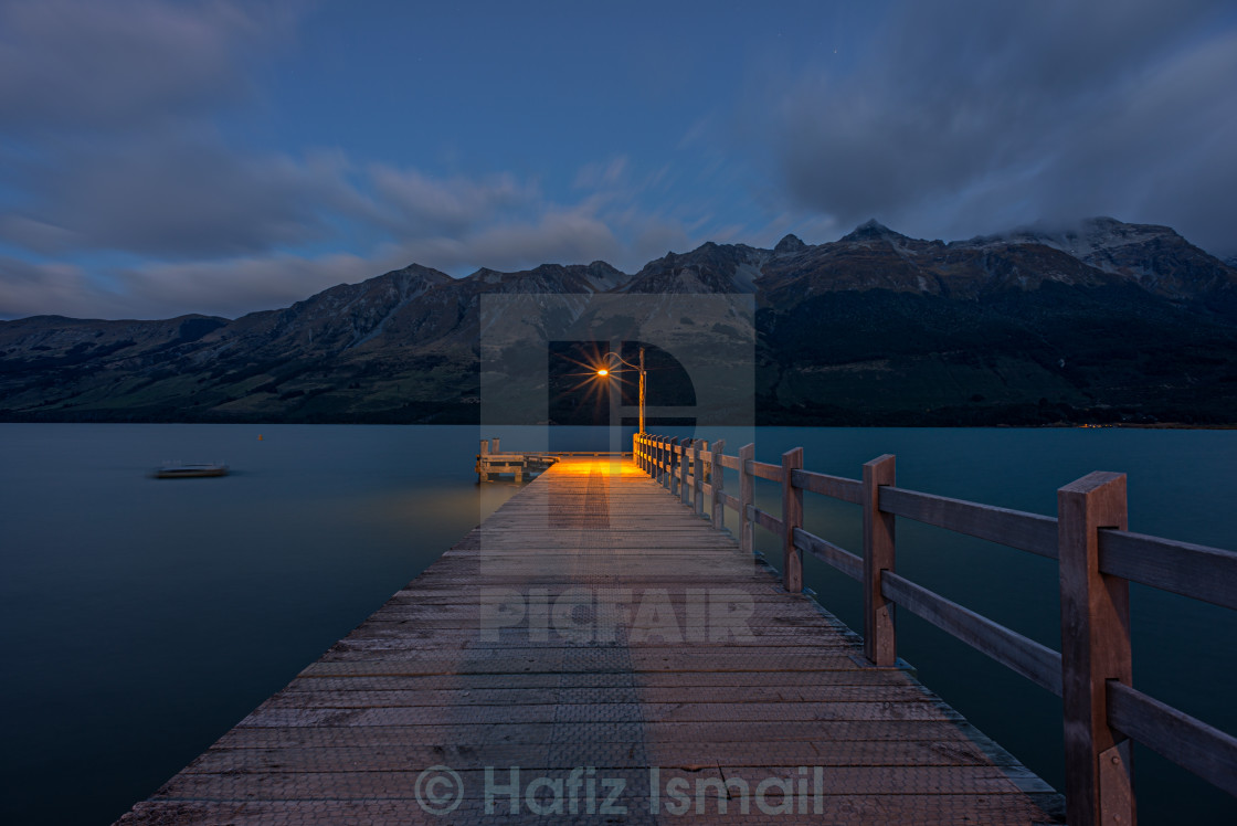 """Dawn at a jetty in Glenorchy, New Zealand."" stock image"