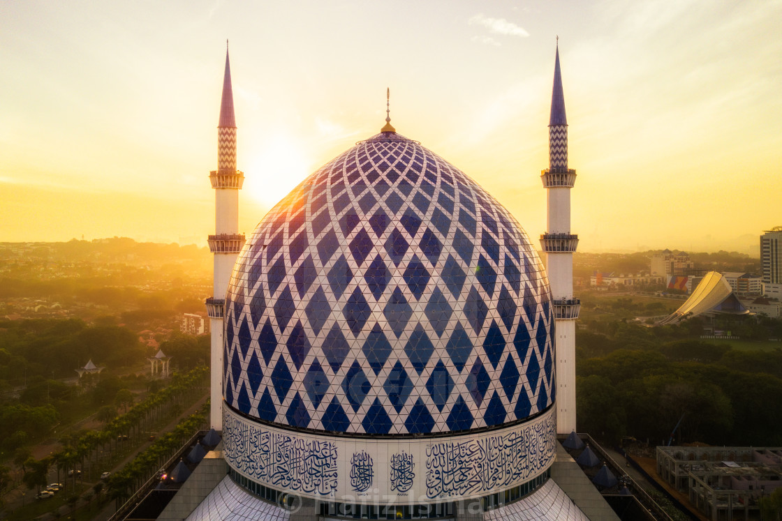 """Aerial Photo - Sunrise at at Mosque"" stock image"