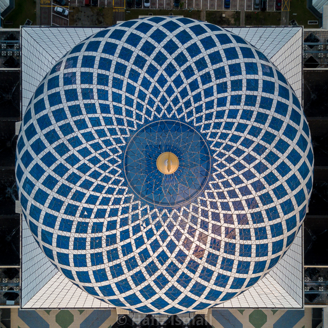 """Aerial Photo - top down view/bird's eye view of a mosque's dome showing the intricate pattern."" stock image"