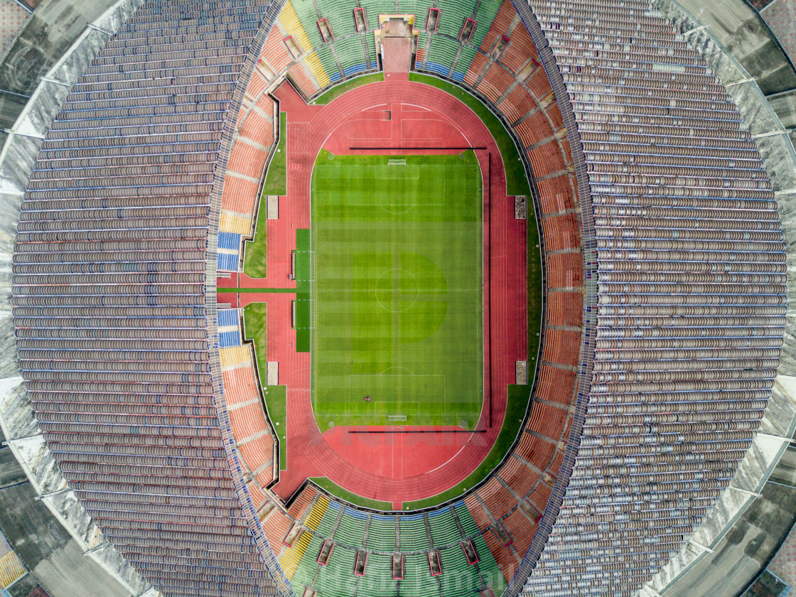 """Aerial Photo - A bird's eye view of a football/soccer stadium."" stock image"