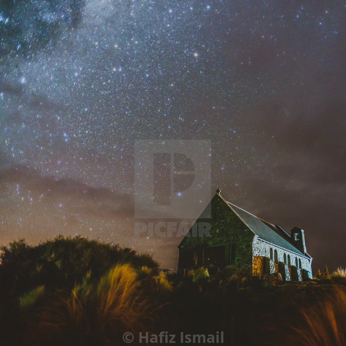 """Stars and Milky way at The Church of the Good Shepherd"" stock image"