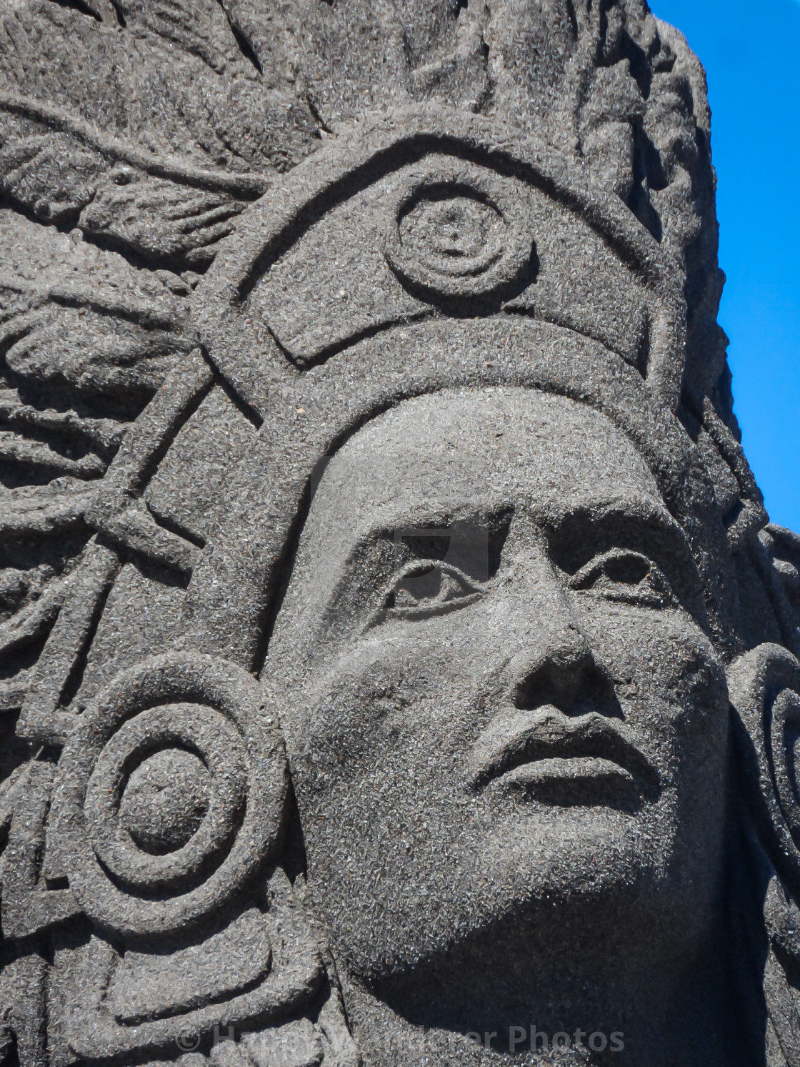 """Face of Indian sand sculpture"" stock image"
