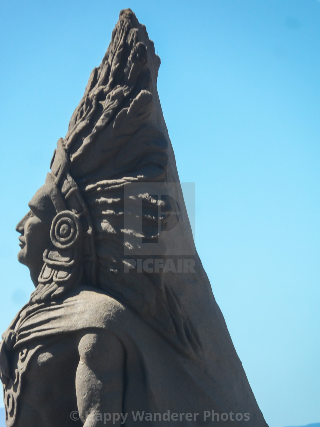 """""""Profile of Indian in headdress"""" stock image"""