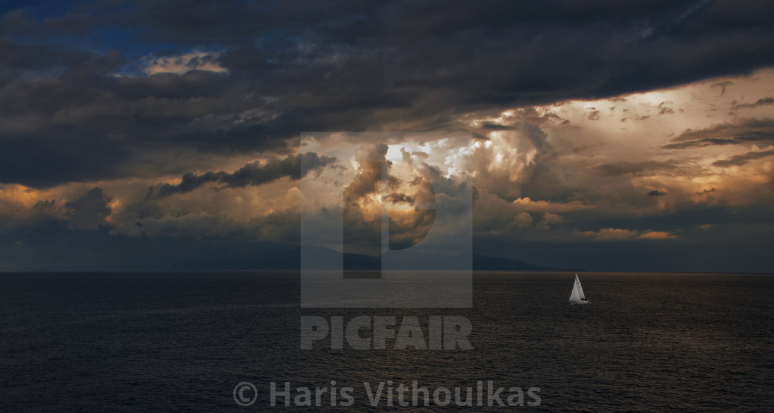 """""""Storm is coming at Zakynthos"""" stock image"""