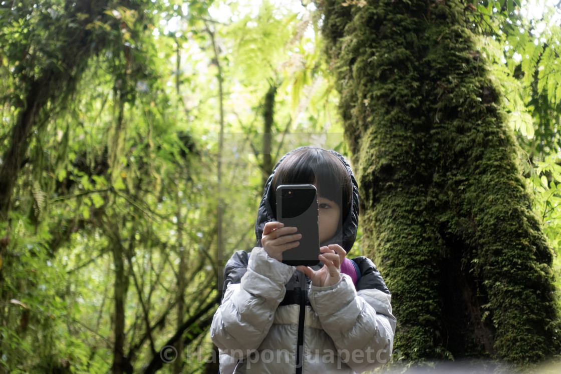 """Asian girl walking nature trail in rainforest and holding smart phone for take a photo"" stock image"