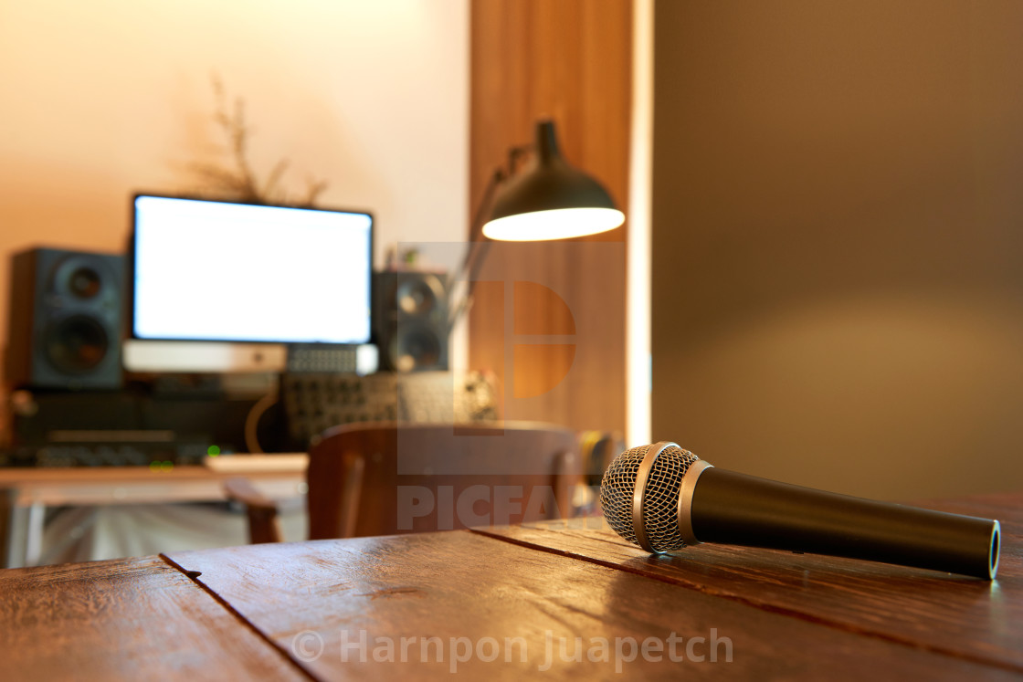 Home studio setup for sound engineer with soft shutter