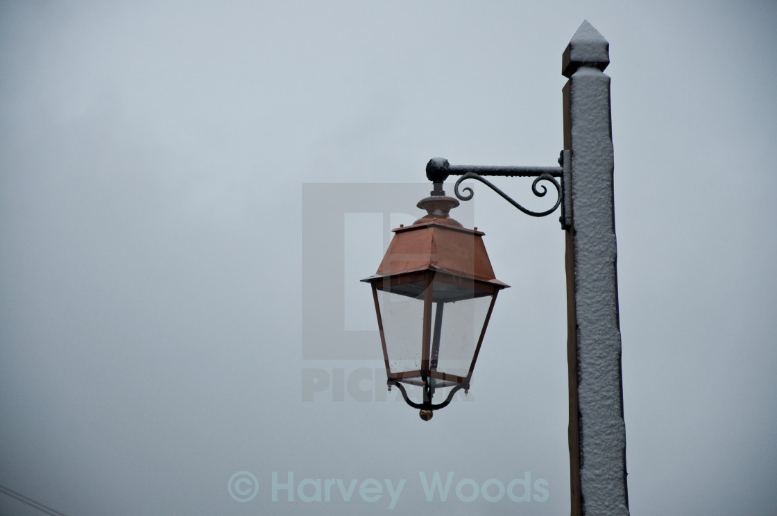 """Snowy Lampost"" stock image"