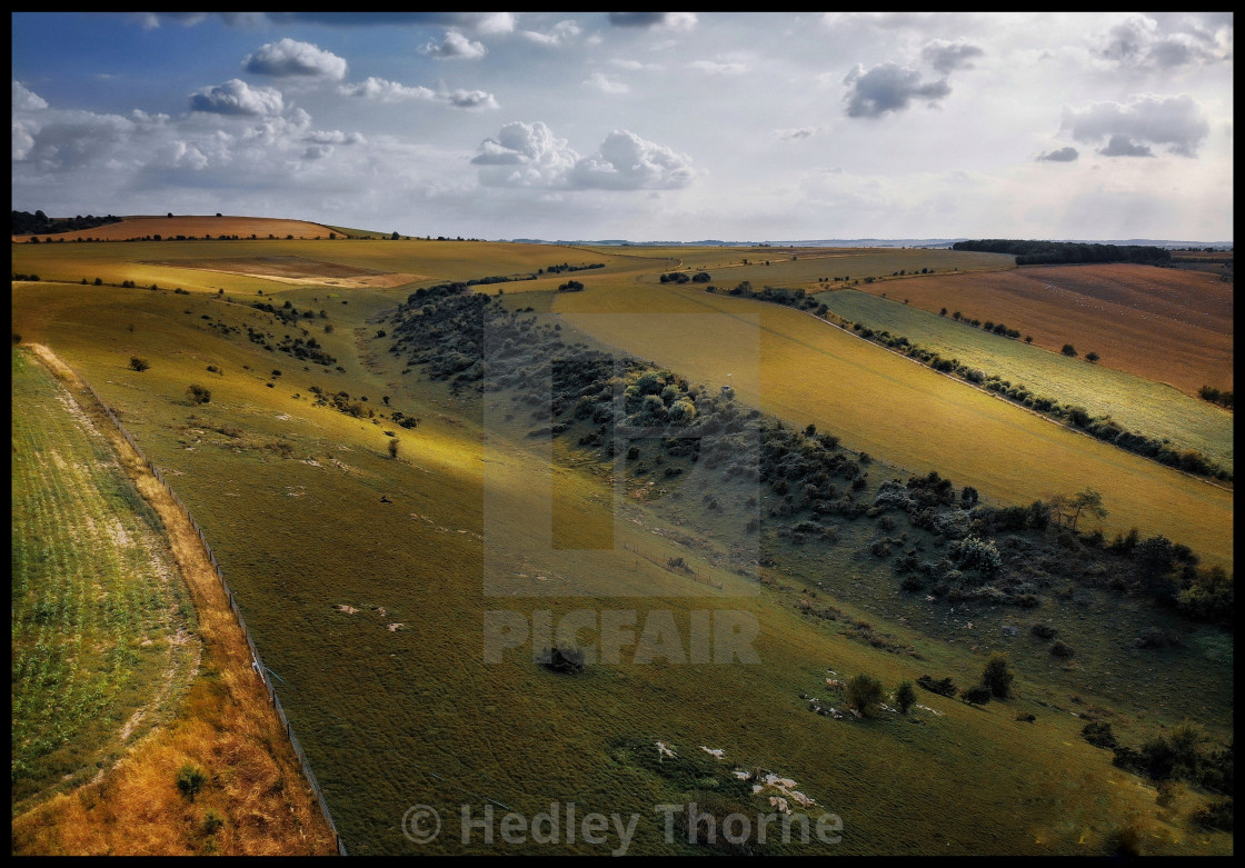 """Juniper Valley and Lowbury Hill"" stock image"