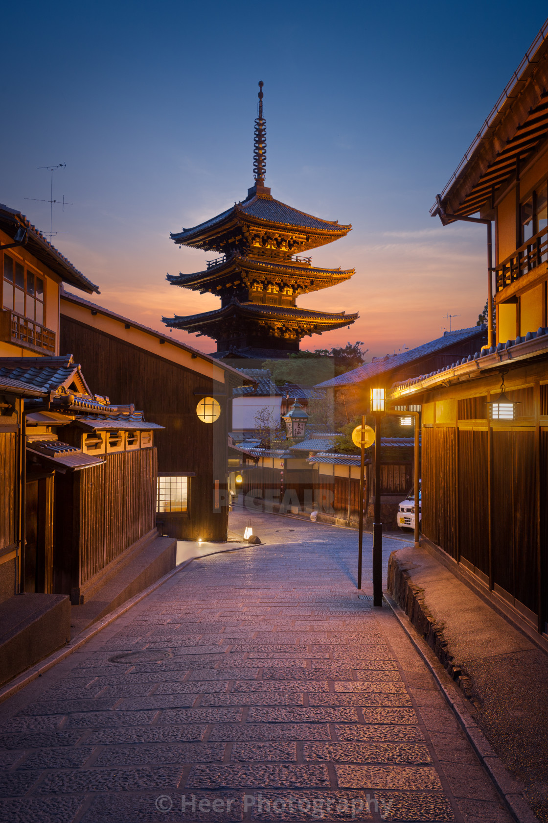 """Kyoto's Yasaka Pagoda at twilight"" stock image"