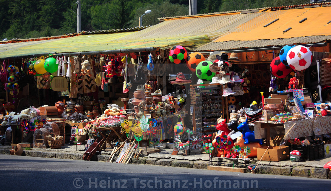 Street Kiosk Selling Toys Garden Gnomes And Souvenirs At Sinaia