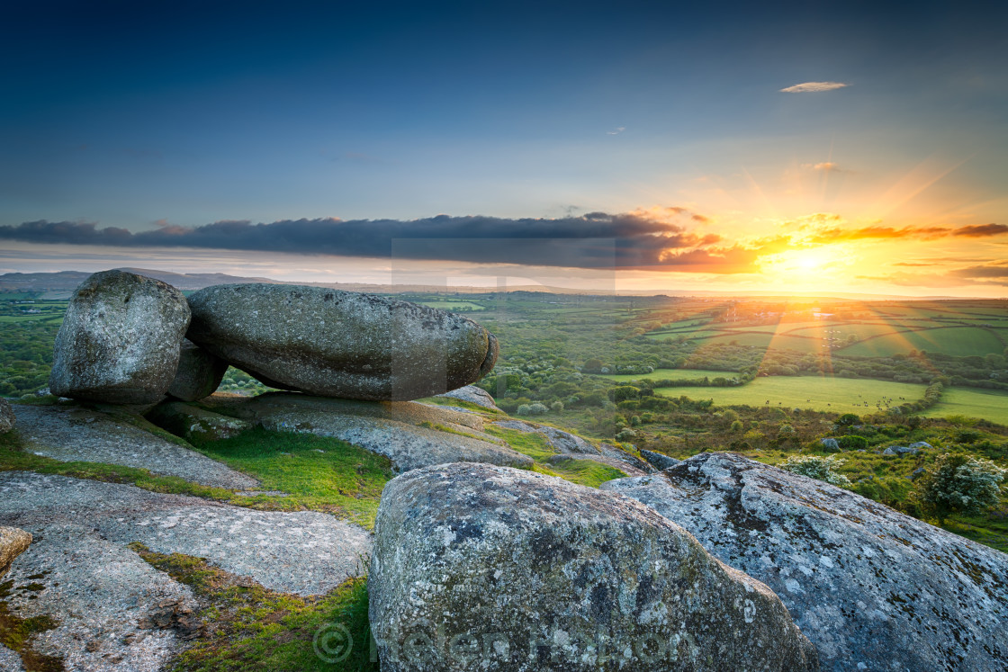 """Sunset at Helman Tor in Cornwall"" stock image"