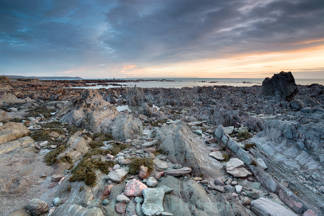 """Rocky Shore at Portwrinkle"" stock image"