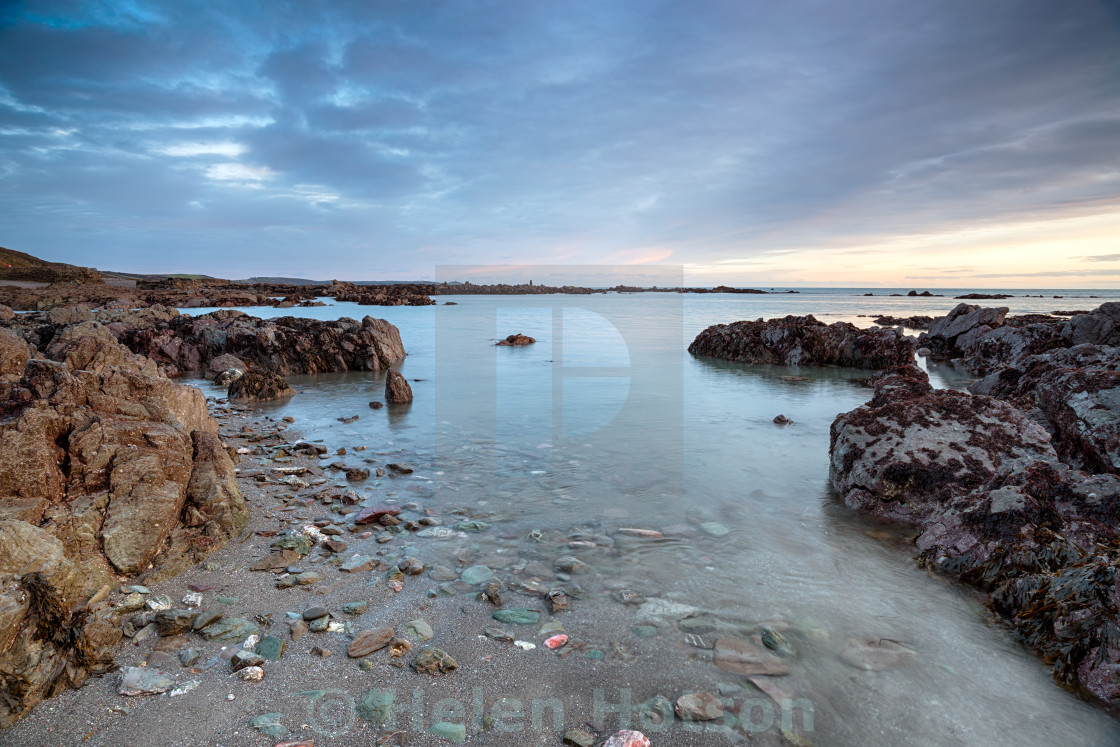 """Dusk at Portwrinkle in Cornwall"" stock image"