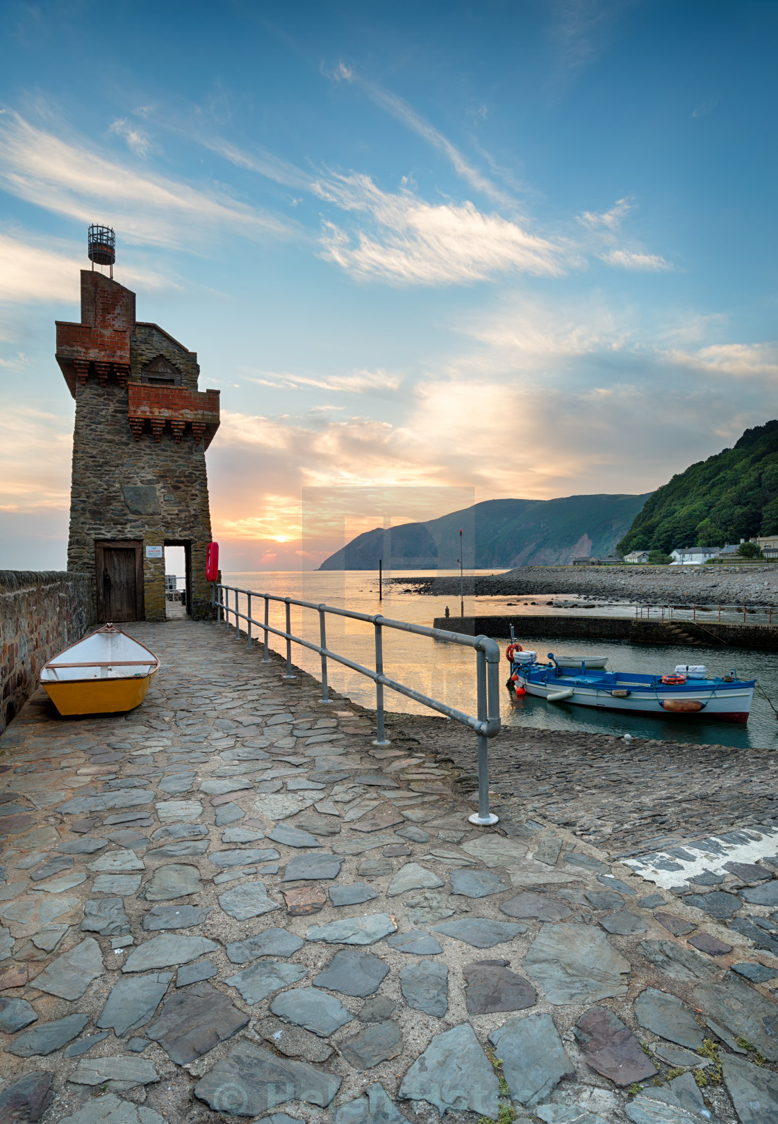 """Lynmouth at Sunrise"" stock image"