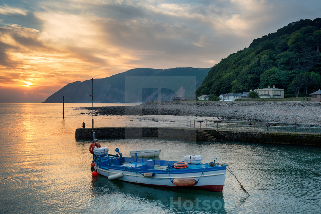 """""""Sunrise at Lynmouth in Devon"""" stock image"""